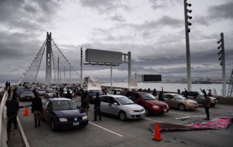 The traffic at a standstill due to the Bay Bridge Protest.