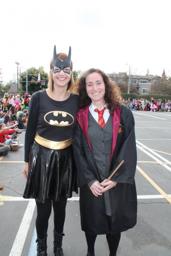 Sra. Cross and Ms. France at lat year's Halloween parade.