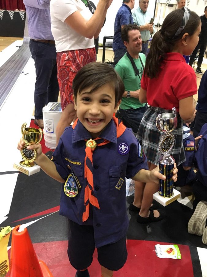 Here's Matteo celebrating his second place (for the Tigers' Den) and